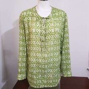 Chicos green white tunic top size 2 Large